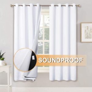 RYB HOME Full Blackout Curtains with Felt Fabric Liner for Sound Insulation​