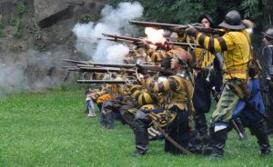historic battle with muskets